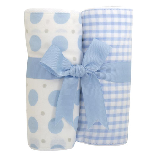 Blue Elephant Set of Two Fabric Burps