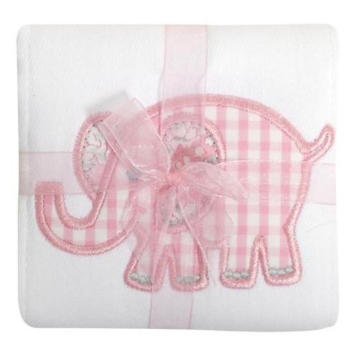 Pink Elephant Appliqued Burp