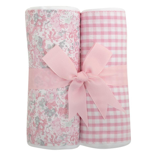 Pink Elephant Set of Two Fabric Burps