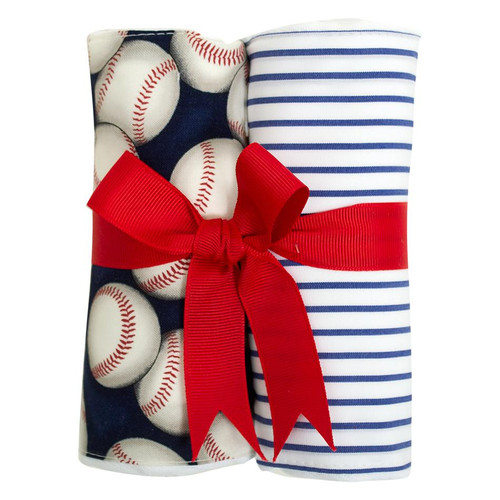 Baseball Set of Two Fabric Burps