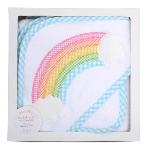 Rainbow Boxed Hooded Towel & Washcloth Set