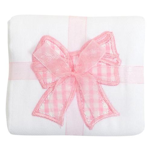 Pink Bow Appliqued Burp