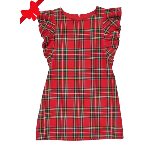 Tartan Red Plaid Dress with Flutter Sleeves
