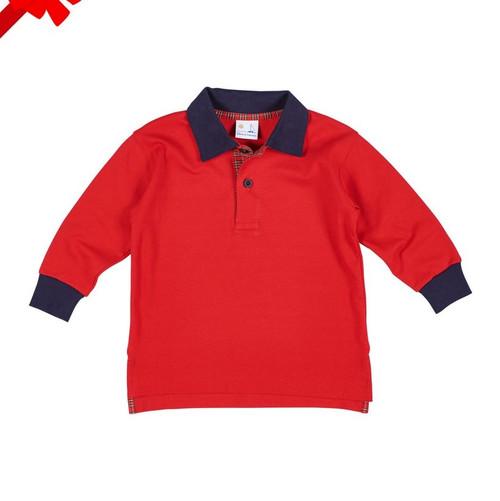 Polo Long Sleeve  Shirt with Plaid Trim
