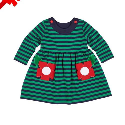 Stripe Knit Green Dress with Flower Pockets