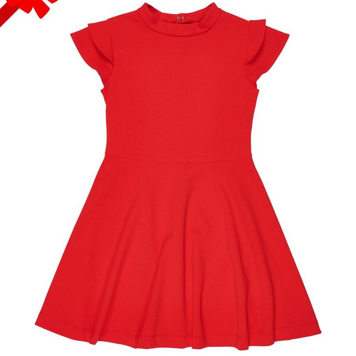 Red Crepe Scuba Dress with Double Sleeves