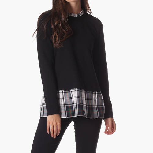 Nina Top Black Star w/Plaid
