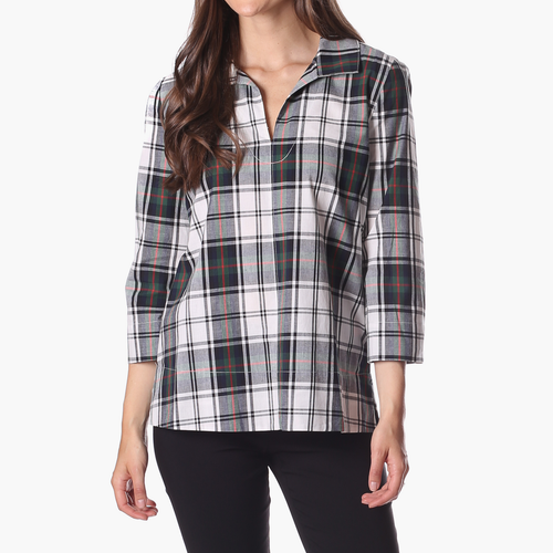 Cadence Top White Green Plaid
