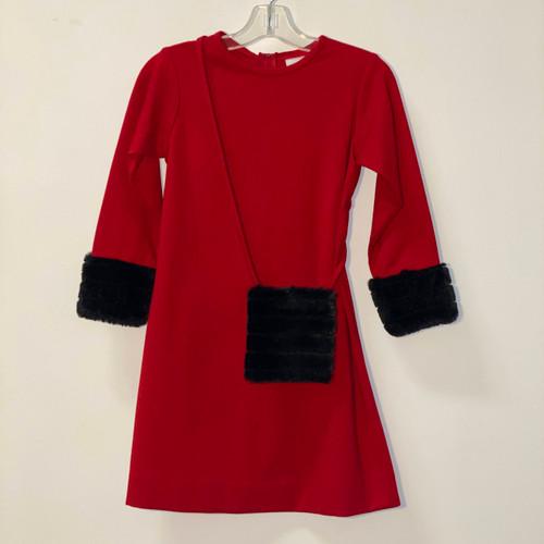 Girls Red Ponte Dress  with Faux Fur Cuffs & Purse