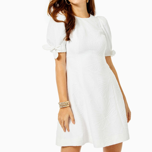 Damina Stretch Dress Resort White Who Let The Fronds Out Pucker Jac
