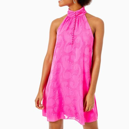 Kristine Dress Pink Tango Tangerine Dream Poly Clip Jacquard