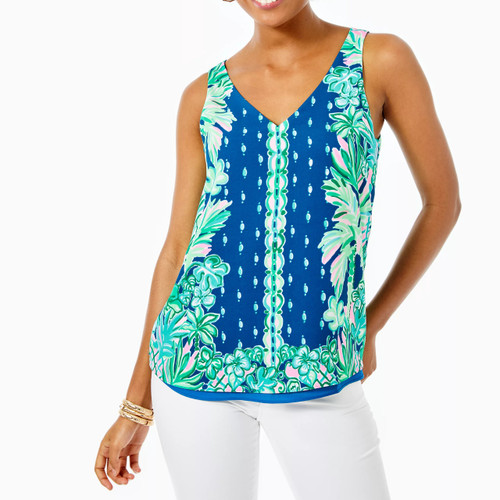 Florin Sleeveless V-Neck Top  Macaw Blue  Coconut Row Engineered
