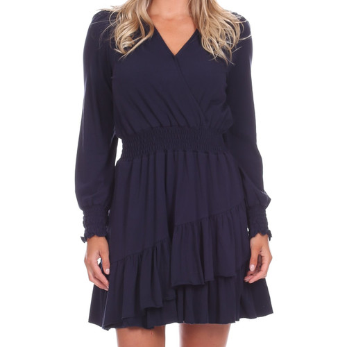 Vivianne Dress Solid Navy