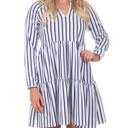 Fiona Dress  Navy/White/Hydrangea Stripe