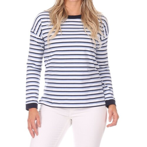 Sunset Pullover  Navy/White/Hydrangea Stripe