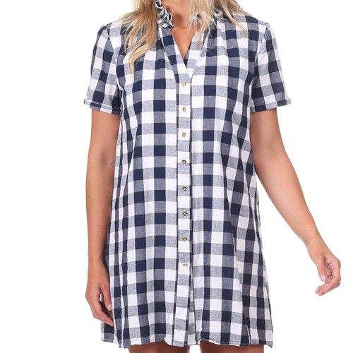 Alana Dress  Navy Gingham