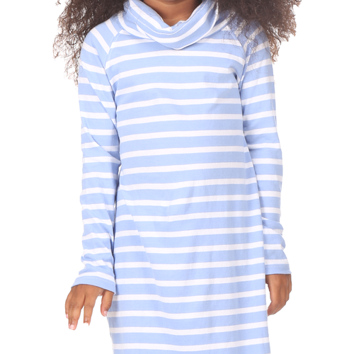 Girls Emmerson Dress Hydrangea White Stripe