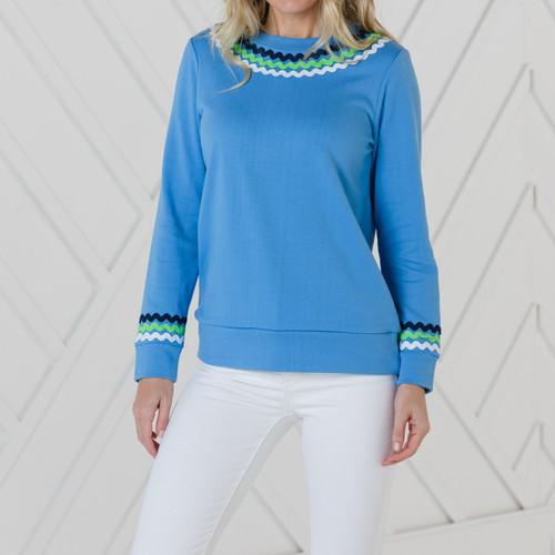 Long Sleeve Top With Ric Rac Marina Blue