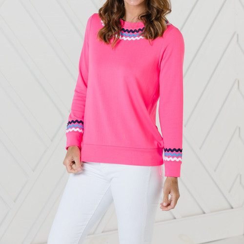 Long Sleeve Top With Ric Rac Hibiscus