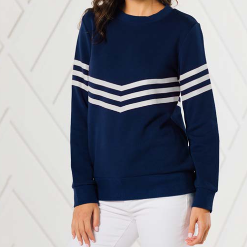 Inverted Stripe Sweatshirt Navy With White Stripes