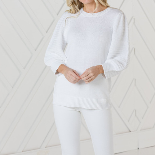3/4 Sleeve Ribbed Sweater White