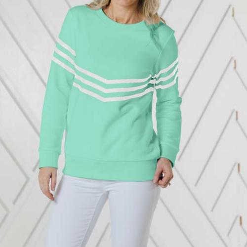 Inverted Stripe Sweatshirt Cabbage/White Stripe