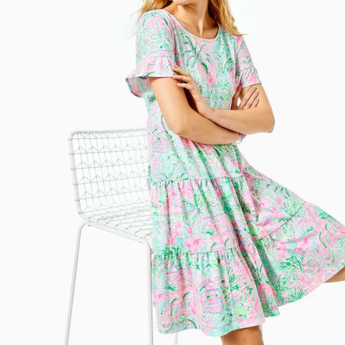 Jodee Short Sleeve Dress  Bali Blue Spotted On Worth