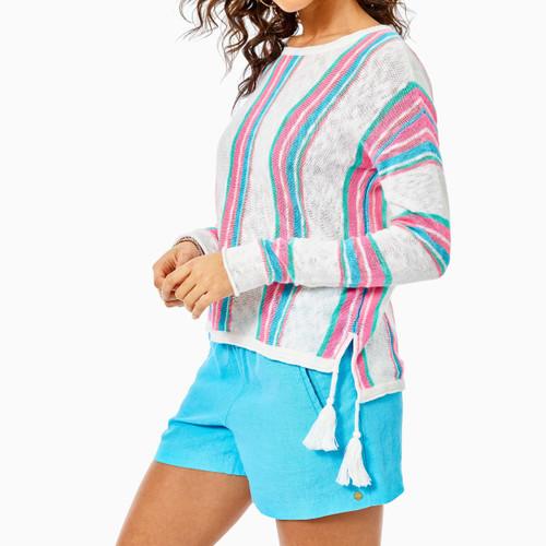 Rozalia Sweater Resort White Paradise Island Stripe