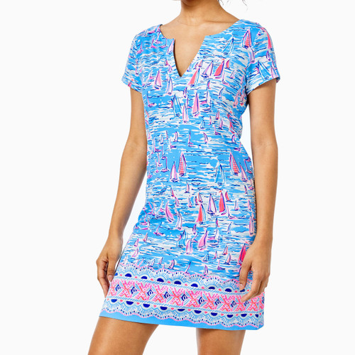 UPF 50+ Sophiletta Dress Zanzibar Blue Boatylicious Engineered Knit