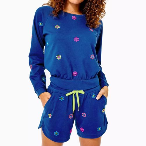 Landyn Sweatshirt Oyster Bay Navy Ditsy Daisy Embroidery