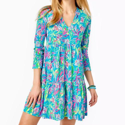 Alaina Dress Formentera Turquoise Keep On Beleafing