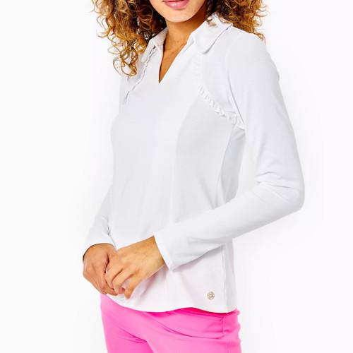 Martina Long Sleeve Polo UPF 50+ Resort White