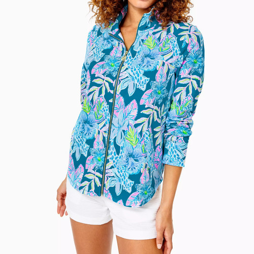 Leona UPF 50+ Zip-up Macaw Blue Tall Me About It