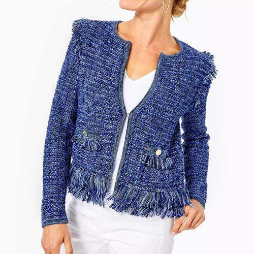 Simora Cardigan Oyster Bay Navy Exotic Tweed
