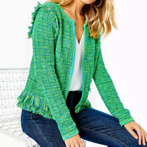 Simora Cardigan Bright Agate Green Exotic Tweed