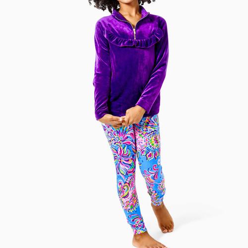 Oaklee Velour Popover Purple Berry
