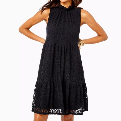 Cornelia Dress Onyx Leopard Knit Lace