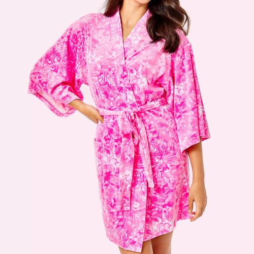 Elaine Velour Robe Plumeria Pink Purrposefully Pink