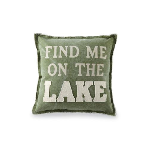 Green Canvas Lake Pillow