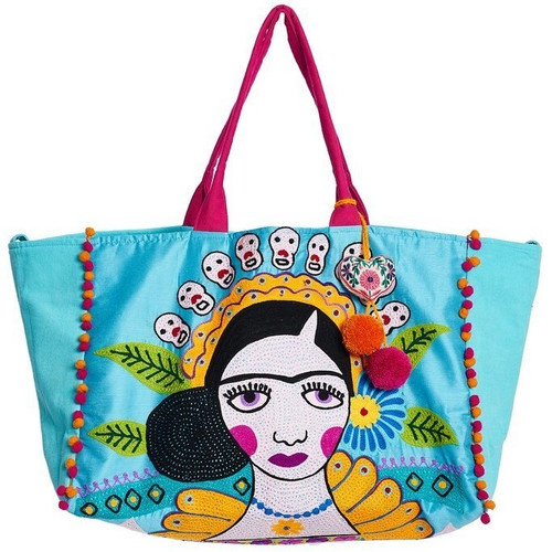 Canvas Embroidered Bag w/Tassel-DKB-Salma