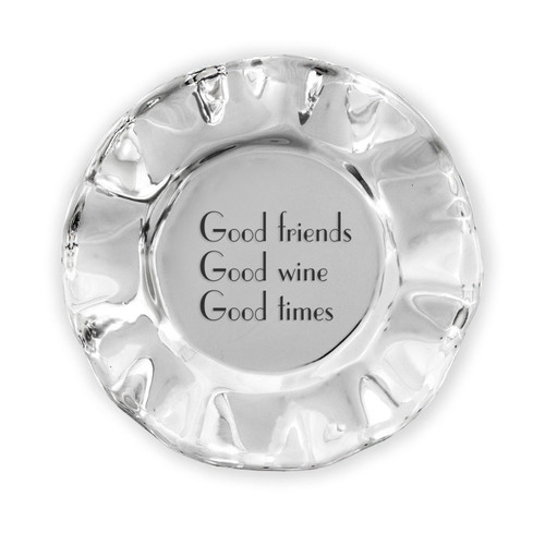 GIFTABLES Vento rect engraved tray- good friends, good wine, good times