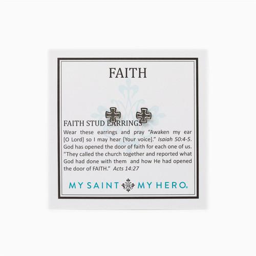 Faith Stud Earrings - Silver