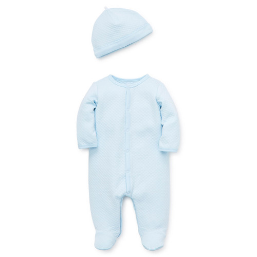 Blue Quilted Footie & Hat