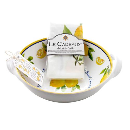 Lemon Basil Two Handle Bowl with matching tea towel