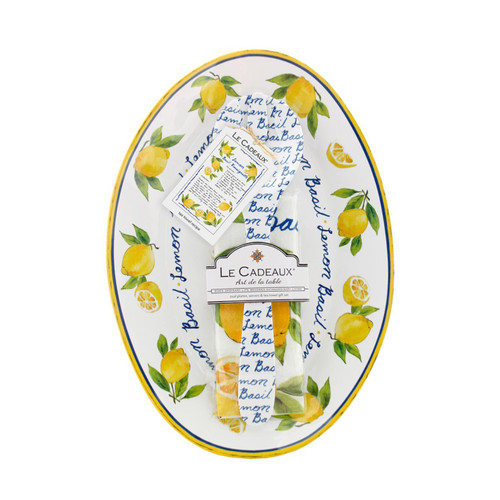 Lemon Basil Oval Serving Platter with Servers and Matching Tea Towel Gift Set