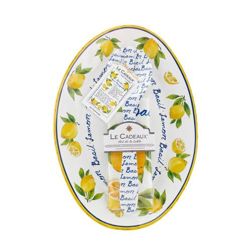 Lemon Basil Oval Serving Platter with Servers and Matching Tea Towel Gift Set