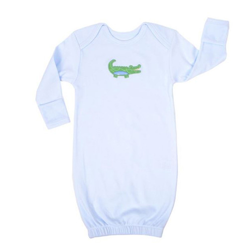 Blue Alligator Newborn Gown