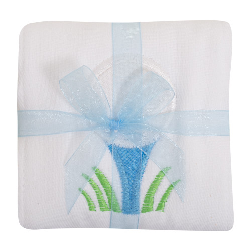 Blue Golf Appliqued Burp Cloth