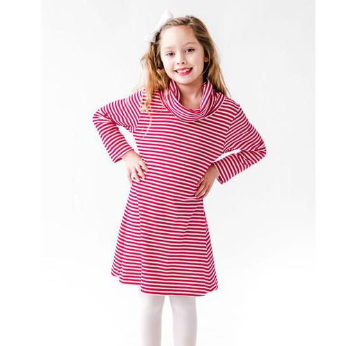 Stripe Cowl Neck Dress