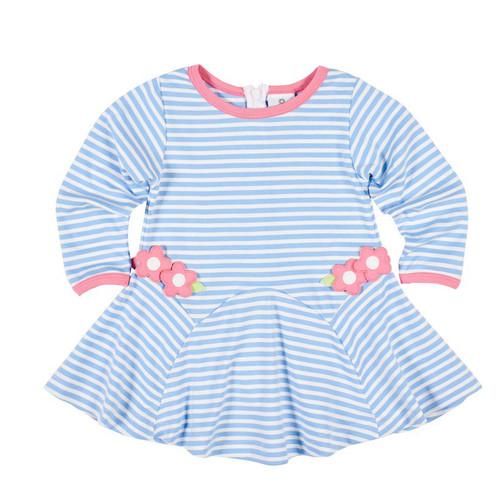Blue Stripe Knit Flower Dress